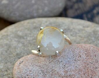 Rutilated Quartz Ring -Rutilated 925 Sterling Silver Ring -Rutilated Quartz Ring -Prong Set Rutile Quartz Ring -Rutilated Quartz Jewelry