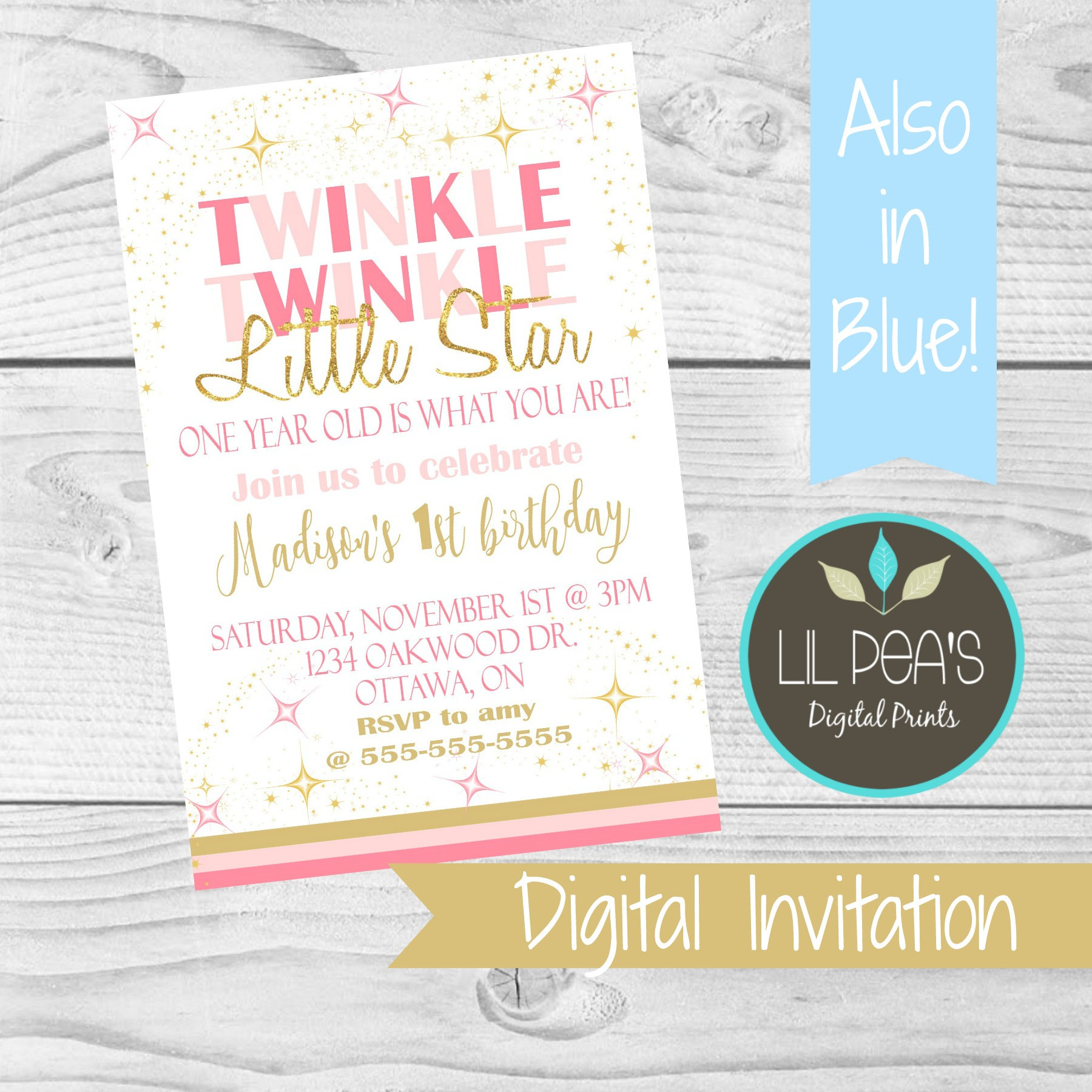 Twinkle Twinkle Birthday Invitation Little Star Birthday