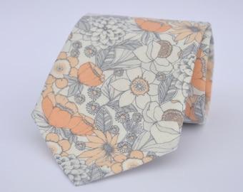 Coral Peach Floral Men's Necktie