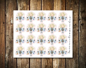 Shopping - Cute Blonde Girl - Functional Character Stickers