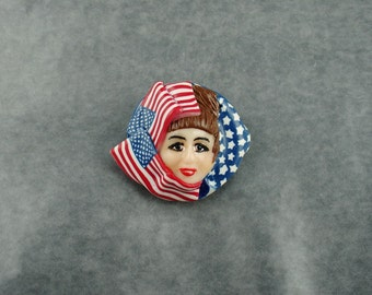 Patriotic Brooch Face, Polymer Clay Pin, Red Blue and White Pin, Jewelry, Polymer Clay Brooch, Gift for Her, Mom Gift, 4th of July