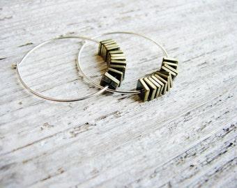 Gold Stone Hoop Earrings, Mixed Metal Earrings, Hematite Earrings, Silver Hoop Earrings, Geology Earrings, Minimalist, Peacock Earrings