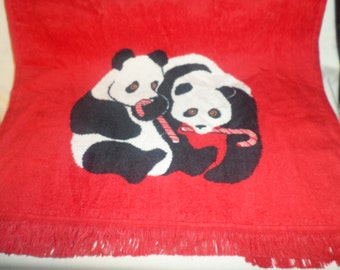 Panda Bears Towel Candy canes  x's 2  Christmas NWOTS  Cute Holiday red vintage fringe wash your hands dry next with these vintage holiday