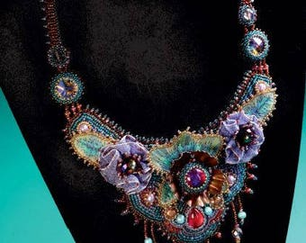 Handmade Statement/ Necklace beaded Embroidered