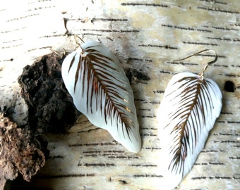 Porcelain and gold feather earrings