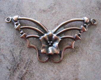 12 Connectors, Antiqued copper-plated steel, 33x19mm single-sided fancy butterfly.JD143