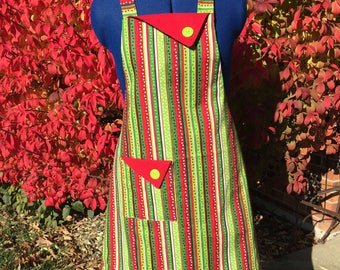Cheery stripe, dot full apron. Great gift for Mom, Grandma, sister, hostess, housewarming, Mother in Law. Kitchen apron.