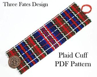 Pattern, Plaid, Lumberjack, Beaded Bracelet, Seed Bead Pattern, Peyote, Beaded Jewelry, Cuff Bracelet, PDF Pattern, Instant Download