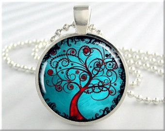 Turquoise Tree Pendant, Resin Necklace, Tree Of Life Jewelry, Turquoise Red Accessory, Round Silver, Gift For Girlfriend 521RS