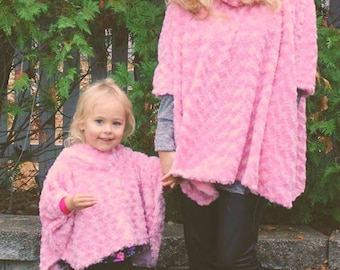 Mommy and Me Cowl Neck Poncho pdf sewing pattern, cape poncho hood pdf sewing pattern, women girls poncho sewing pattern, Seamingly Smitten