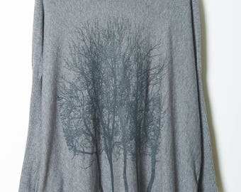 Fairytale Trees Turtleneck Poncho Light Gray
