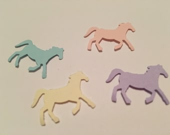 200 Hand Punched  HORSE Die cuts LAVENDER, light pink, light blue, off white/creme for Confetti, invitations,scrapbooking,