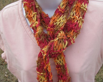 Multi-Colored Hand Knit Scarf - pink orange brown yellow - by Happy Campers of the South (SCRF034)