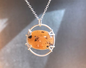 Delicate Sterling Silver and Cheetah Agate Pendant