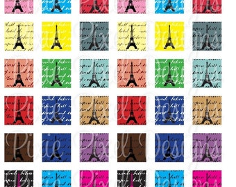 INSTANT DOWNLOAD - Paris Eiffel Tower Scrabble Tile Collage Sheet