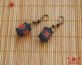 Birthday gift for women dangle earrings bohemian jewelry for her red black fabric earrings hand embroidered dangling earrings gift for girl
