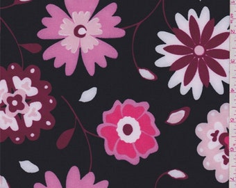 Black/Pink Floral Activewear, Fabric By The Yard
