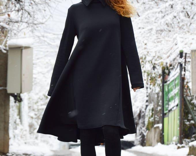 Black Long Shirt Dress, Asymmetric Tunic Dress, Plus Size Buttoned Dress, Winter Coat, Extravagant Long Tunic by SSDfashion