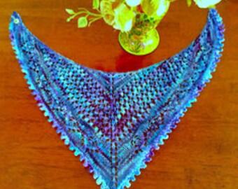 Doggie Sea and Stars Knit Lace Bandana Original Design - Hand Knit with Hand Dyed Machine Wash Yarn