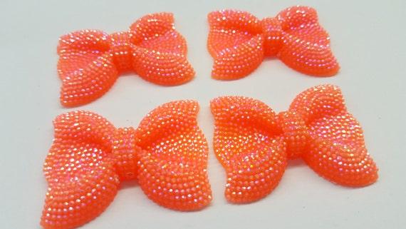MajorCrafts® 3pcs 54mm Orange AB Large Flat Back Chunky Resin Rhinestone Embellishment Bows C18