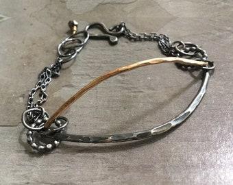 Rustic Gold Silver Bracelet - 14kt Gold Bracelet - Oxidized Sterling Silver Bracelet - Mixed Metal Bracelet - Hammered Curvy Bracelet