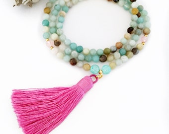 Amazonite Rose Quartz Mala Beads Necklace, Yoga Necklace, Tassel Mala, Meditation Beads, Mala Beads, Mala Necklace, Shakti Mala Prayer Beads