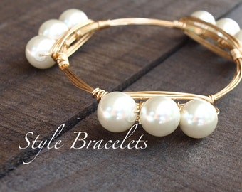 Pearl Wire Wrapped Bangle Bracelet | White Faux Pearl Glass Bracelet | Wire Bracelet | Wire Wrapped Bangle | Large Pearl Bracelet