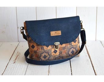 Shoulder bag vegan leather flap with natural and blue, soft and sweet, eco-friendly and ethical mosaic Cork