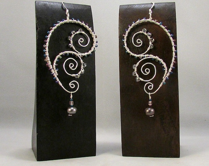 Featured listing image: Silver paisley and swirls wire wrap earrings