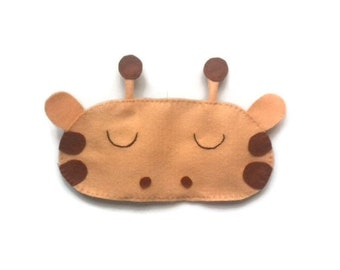 Giraffe eye mask, Giraffe sleep mask, animal sleep mask, animal eye mask, sleeping aid, felt sleep mask