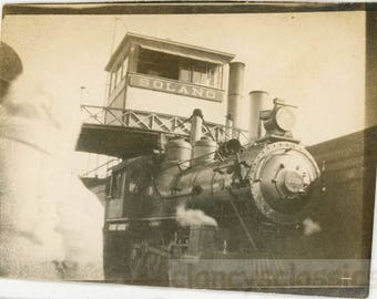 vintage photo 1903 Solano California Steam Engine #2223 Train Station