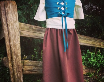 Renfaire clothing, girls historical dress, kids costume, renaissance gown, renfaire costume, flower girl dress, theatre costume