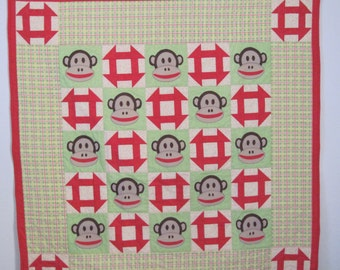 Baby Quilt with Monkey Faces