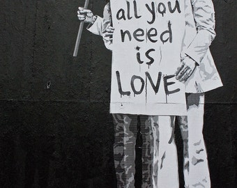 Banksy canvas All You Need is Love Street Art Graffiti Premium Print