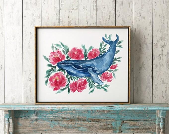 Watercolor Whale Painting Print Humpback Whale Art Whale Print Beach Decor Whale Nursery Humpback Whale Painting Whale Flowers Art Animal