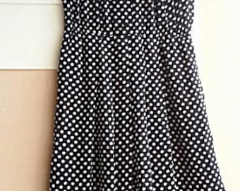 70s Chiffon Day Dress - Polka Dot White on Black Chiffon - Japanese Vintage - Size S or Smaller M