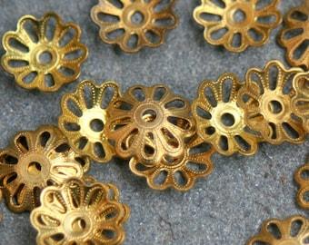 20 Brass vintage bead caps