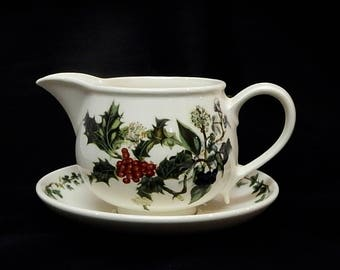 Portmeirion Holly and Ivy Gravy Boat with underplot