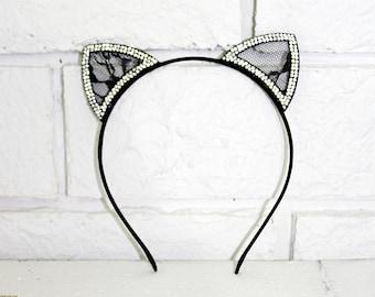 Cat Ears  Costume Cat Fancy Costume Black cat ears Black ears with rhinestones
