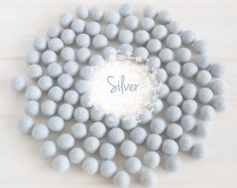 Wool Felt Balls - Size, Approx. 2CM - (18 - 20mm) - 25 Felt Balls Pack - Color Silver-8015 - 2CM Felt Pom Pom - Soft Gray Wool Felt Balls