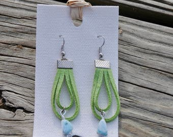 Dominican Larimar Earrings with Green Vegan Leather