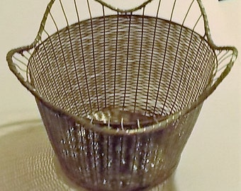 Metal Woven Basket, Vintage Silver Colored Waste Basket, Planter, Storage Container, Decorative,