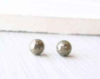 Small Pyrite Post Earrings - Faceted Gold Studs, Nickel Free Titanium Earrings, Stone Jewelry, Gemstone, Simple, Minimalist