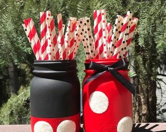 Mickey and Minnie Mason Jars, Mickey Mouse Birthday Decorations, Kids Room Decor, Minnie Mouse Birthday Decorations, Mickey Mouse Shower,