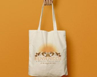 LORI Custom Canvas Tote, Wedding Bag, Beach Tote, Swag Bag, Welcome Gift, Wedding Favor, Bridesmaid gift, Puerto Rico Beach Wedding
