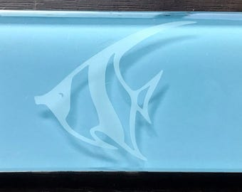 Glass Subway Tile With Etched Angel Fish, Featured in Pacific Blue