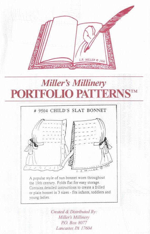 MI9504 1800 s Kindes Slat Bonnet Schnittmuster von Millers