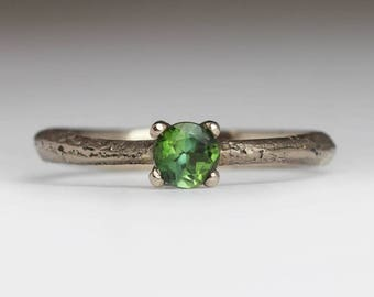 Green Tourmaline Engagement Ring, Natural 18ct White Gold, Unique Engagement Ring, Delicate Solitaire Ring, October Birthstone Gift for Her