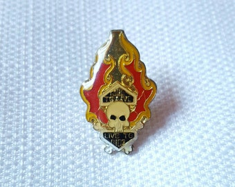 Vintage Early 80s Ride to Live / Live to Ride Enamel Flame Skull Biker Motorcycle Pin