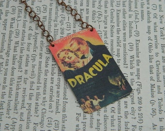 Dracula necklace Vintage Movie poster Halloween jewelry